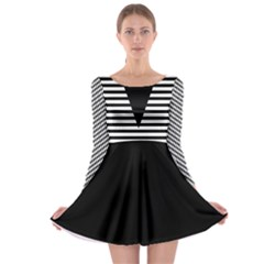 Black & White Stripes Big Triangle Long Sleeve Skater Dress by EDDArt
