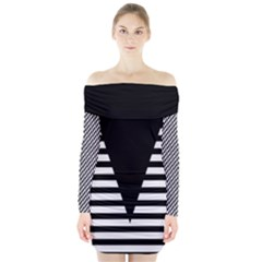 Black & White Stripes Big Triangle Long Sleeve Off Shoulder Dress by EDDArt