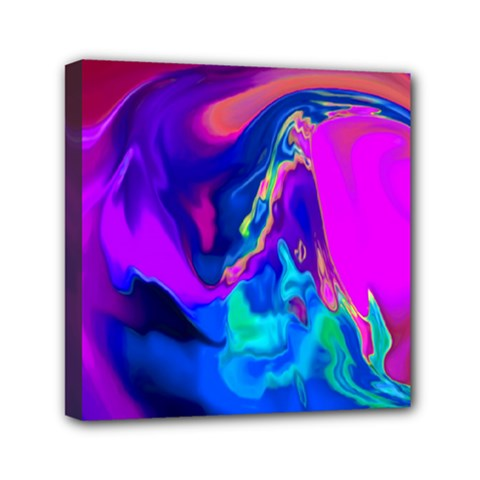 The Perfect Wave Pink Blue Red Cyan Mini Canvas 6  X 6  by EDDArt