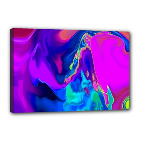 The Perfect Wave Pink Blue Red Cyan Canvas 18  X 12  by EDDArt