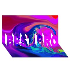 The Perfect Wave Pink Blue Red Cyan Best Bro 3d Greeting Card (8x4) by EDDArt