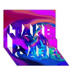 The Perfect Wave Pink Blue Red Cyan Take Care 3d Greeting Card (7x5) by EDDArt