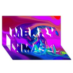 The Perfect Wave Pink Blue Red Cyan Merry Xmas 3d Greeting Card (8x4) by EDDArt
