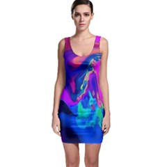 The Perfect Wave Pink Blue Red Cyan Sleeveless Bodycon Dress by EDDArt