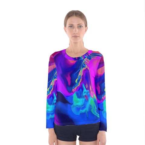 The Perfect Wave Pink Blue Red Cyan Women s Long Sleeve Tee by EDDArt