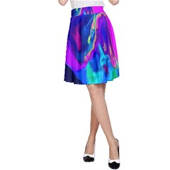 The Perfect Wave Pink Blue Red Cyan A-line Skirt by EDDArt