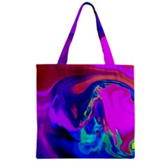 The Perfect Wave Pink Blue Red Cyan Zipper Grocery Tote Bag by EDDArt