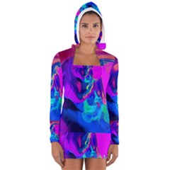 The Perfect Wave Pink Blue Red Cyan Women s Long Sleeve Hooded T-shirt by EDDArt