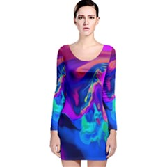 The Perfect Wave Pink Blue Red Cyan Long Sleeve Velvet Bodycon Dress by EDDArt