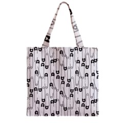 Safety Pin Pattern Zipper Grocery Tote Bag by Mishacat