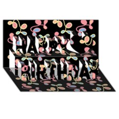 Elegant Garden Happy Birthday 3d Greeting Card (8x4) by Valentinaart