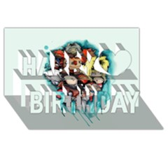 Should You Need Us 2 0 Happy Birthday 3d Greeting Card (8x4) by lvbart