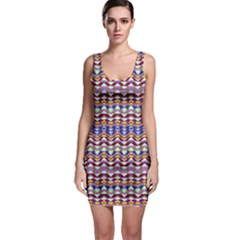 Ethnic Colorful Pattern Sleeveless Bodycon Dress