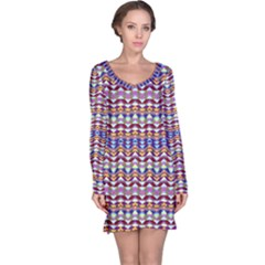 Ethnic Colorful Pattern Long Sleeve Nightdress