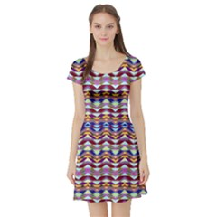 Ethnic Colorful Pattern Short Sleeve Skater Dress