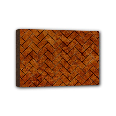 Brick2 Black Marble & Brown Marble Mini Canvas 6  X 4  (stretched) by trendistuff