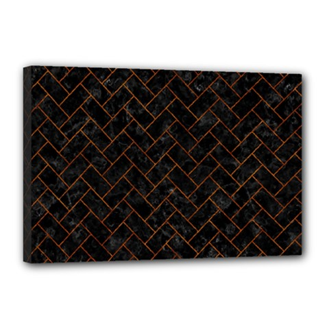 Brick2 Black Marble & Brown Marble (r) Canvas 18  X 12  (stretched) by trendistuff