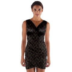 Brick2 Black Marble & Brown Marble (r) Wrap Front Bodycon Dress by trendistuff