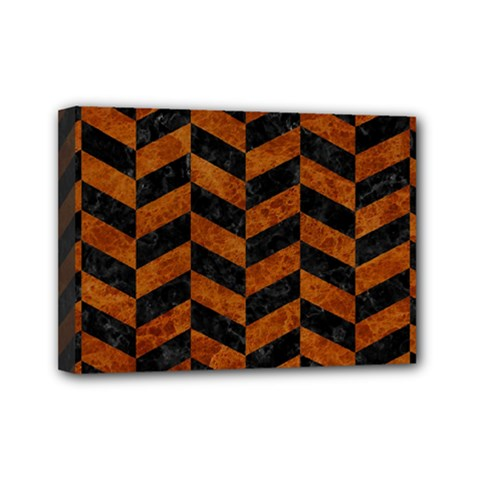Chevron1 Black Marble & Brown Marble Mini Canvas 7  X 5  (stretched) by trendistuff