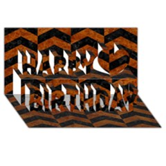 Chevron2 Black Marble & Brown Marble Happy Birthday 3d Greeting Card (8x4) by trendistuff