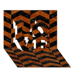 Chevron2 Black Marble & Brown Marble Love 3d Greeting Card (7x5)