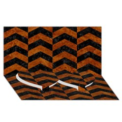 Chevron2 Black Marble & Brown Marble Twin Heart Bottom 3d Greeting Card (8x4) by trendistuff