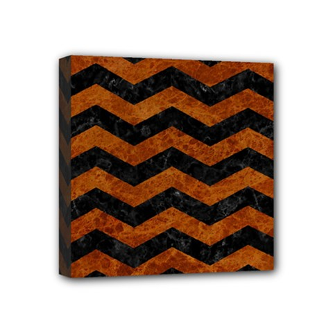 Chevron3 Black Marble & Brown Marble Mini Canvas 4  X 4  (stretched) by trendistuff