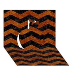 Chevron3 Black Marble & Brown Marble Apple 3d Greeting Card (7x5) by trendistuff