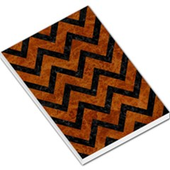 Chevron9 Black Marble & Brown Marble (r) Large Memo Pads