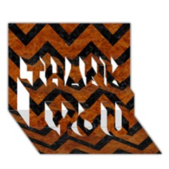 Chevron9 Black Marble & Brown Marble (r) Thank You 3d Greeting Card (7x5)