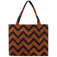 Chevron9 Black Marble & Brown Marble (r) Mini Tote Bag by trendistuff
