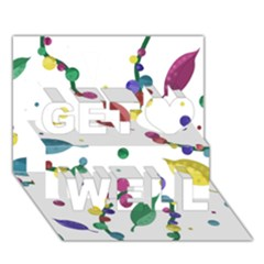 Abstract Floral Design Get Well 3d Greeting Card (7x5) by Valentinaart