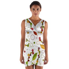Adorable Floral Design Wrap Front Bodycon Dress by Valentinaart