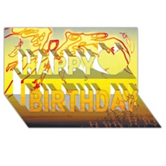 Angel Happy Birthday 3d Greeting Card (8x4) by AnjaniArt