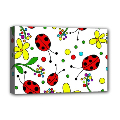 Ladybugs Deluxe Canvas 18  X 12   by Valentinaart