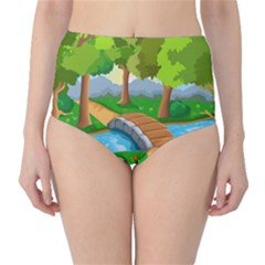 Cute Cartoon High Waist Bikini Bottoms