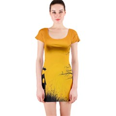 Day Halloween Night Short Sleeve Bodycon Dress by AnjaniArt