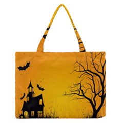 Day Halloween Night Medium Zipper Tote Bag by AnjaniArt