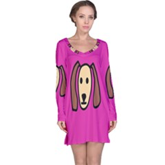 Face Dog Long Sleeve Nightdress