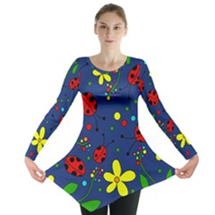 Ladybugs   Blue Long Sleeve Tunic  by Valentinaart