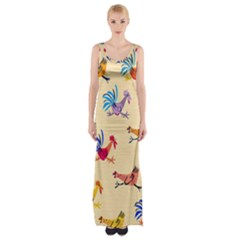 Chicken Maxi Thigh Split Dress by AnjaniArt