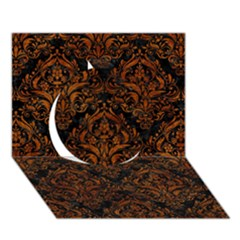 Damask1 Black Marble & Brown Marble Circle 3d Greeting Card (7x5) by trendistuff