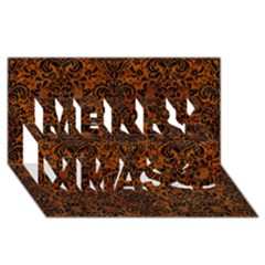 Damask2 Black Marble & Brown Marble (r) Merry Xmas 3d Greeting Card (8x4) by trendistuff