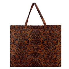Damask2 Black Marble & Brown Marble (r) Zipper Large Tote Bag by trendistuff
