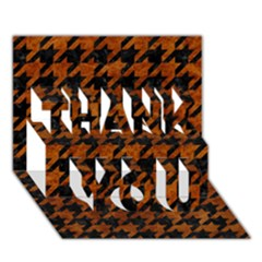 Houndstooth1 Black Marble & Brown Marble Thank You 3d Greeting Card (7x5) by trendistuff