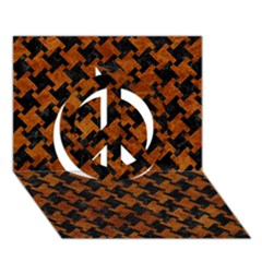 Houndstooth2 Black Marble & Brown Marble Peace Sign 3d Greeting Card (7x5) by trendistuff