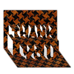 Houndstooth2 Black Marble & Brown Marble Thank You 3d Greeting Card (7x5) by trendistuff
