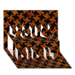 Houndstooth2 Black Marble & Brown Marble You Did It 3d Greeting Card (7x5) by trendistuff