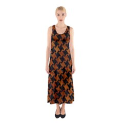 Houndstooth2 Black Marble & Brown Marble Sleeveless Maxi Dress by trendistuff