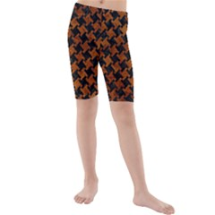 Houndstooth2 Black Marble & Brown Marble Kids  Mid Length Swim Shorts by trendistuff